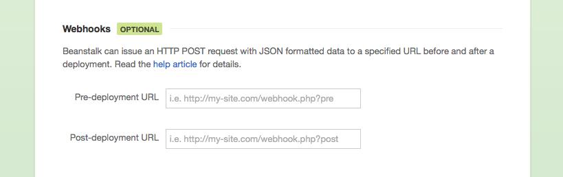 Two deployment webhooks